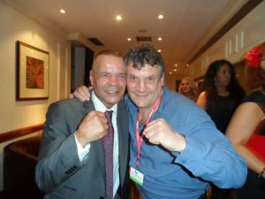 With old gym-mate, Tony Rabbetts.